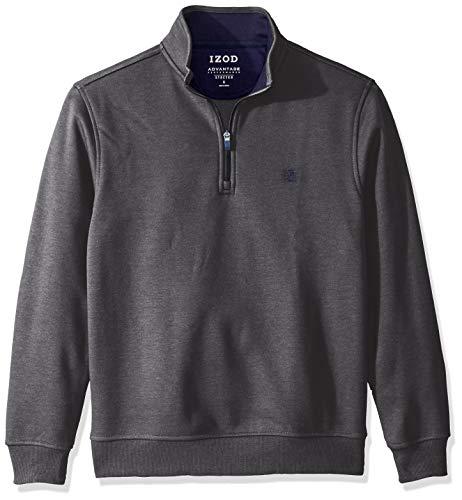 IZOD Men's Advantage Performance Quarter Zip Fleece Pullover, Charcoal Grey, Large