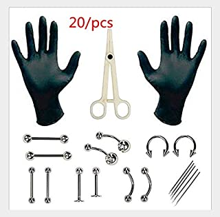 36pcs/Set Body Piercing Tools 6 Style Professional Piercing Tool Kit Sterile Belly Body Ring Needle Sets Cartilage Tools Body Jewelry