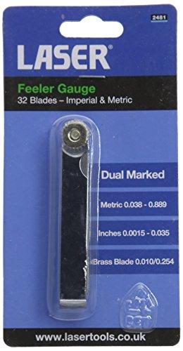 Laser 2481 Jauge d'épaisseur 32 lames en laiton avec unités de mesure impériales et métriques