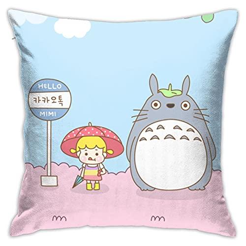 Dxddsdks My Neighbor Totoro - Fundas de cojín con dibujos animados de anime y dibujos animados, impresión 3D, decoración suave y cómoda, sofá o silla