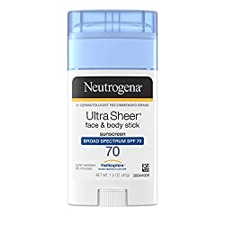 Neutrogena Ultra Sheer Non-Greasy Sunscreen Stick for Face & Body, Broad Spectrum SPF 70 UVA/UVB Sun