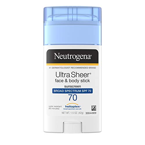Neutrogena Ultra Sheer Non-Greasy Sunscreen Stick for Face & Body, Broad Spectrum SPF 70 UVA/UVB Sunscreen Stick, PABA-Free, 1.5 oz