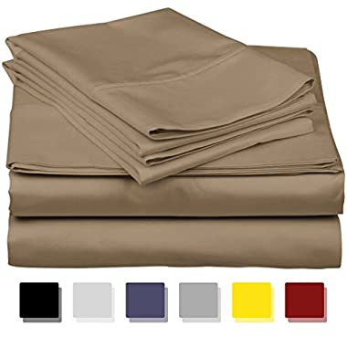 Thread Spread True Luxury 100% Egyptian Cotton - Genuine 1000 Thread Count 4 Piece Sheet Set- Color Taupe,Size King - Fits Mattress Upto 18'' Deep Pocket