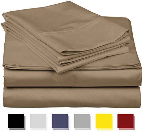 True Luxury 1000-Thread-Count 100% Egyptian Cotton Bed Sheets, 4-Pc King Taupe Sheet Set, Single Ply Long-Staple Yarns, Sateen Weave, Fits Mattress Upto 18'' Deep Pocket