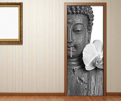 Türaufkleber Buddha statur lilien blüte Asien schwarz weiß Tür Bild Türposter Türfolie Türtapete Poster Aufkleber 15A1136, Türgrösse:80cmx200cm