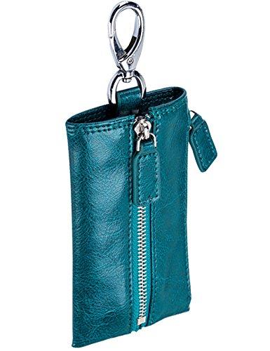 iSuperb Portachiavi Raccoglitore Chiave in Pelle Chiave Caso Cuoio con Cerniera 6x12.3x0.5cm (Blu)
