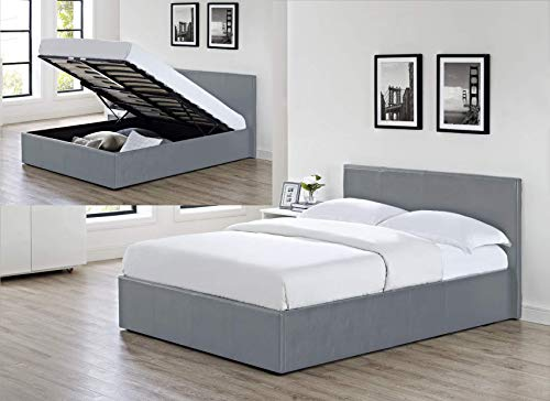 Siesta - 3FT Single Faux Leather Ottoman Storage Bed in Grey Faux Leather