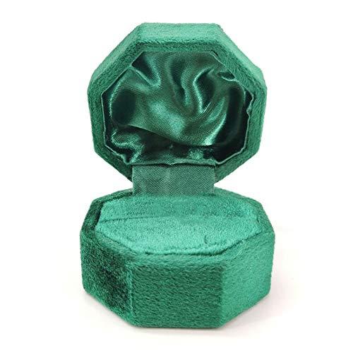 2 cajas de terciopelo octogonal con tapa para pendientes, pendientes, joyeros, pendientes y pendientes, caja de almacenamiento de joyas, caja de regalo personalizada de terciopelo