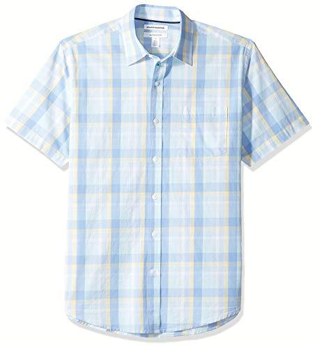 Amazon Essentials – Camisa informal de popelín a cuadros de manga corta de corte recto para hombre, Aqua/Blue Plaid, US M (EU M)
