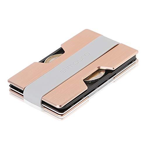 Premium Kreditkartenetui aus Aluminium mit Münzfach und Geldklammer Nano - RFID NFC Schutz - Slim Wallet Kartenetui - Filzschutz gegen Kartenabrieb - Geldbörse Portmonee für Minimalisten (Rosé)