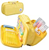 Pencil Case Pen Bag Holder Pouch Large Handle Big Capacity Desk Organizer Storage Marker Box Stationary Makeup Cosmetic Double Zippers for School Office Students Teen (Yellow)