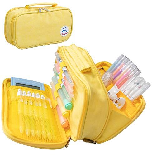 Estuche Lápiz Bolsa Gran Capacidad Bolso Maquillaje Bolígrafo Escritorio Organizador Almacenamiento Marcador Caja Papelería para Colegio Oficina Estudiantes Adolescente (amarillo)