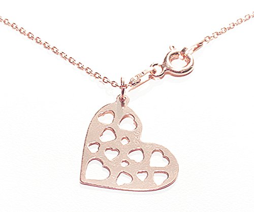 Women's Celebrity Layered Style Open Work Heart Necklace. Made In Vermeil 18K Rose Gold Over Sterling Silver, 45cm Chain. Stamped 925.
