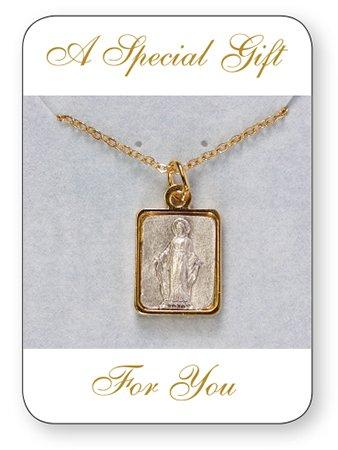 20mm Onze-Lieve-Vrouw Wonderbaarlijke Medaille Goud vergulde Charm Hanger met vergulde 18