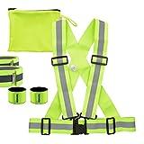 kwmobile 6in1 Set Reflektor Sicherheitsweste L-XL - Warnweste für Damen, Herren und Kinder - Weste zum Laufen, joggen oder skaten - in Neon Gelb