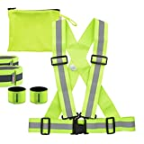 kwmobile Kit 5en1 Chaleco y 4 Bandas Reflectantes - Arnés Reflectante Talla S-M y brazaletes Fluorescentes - Set de Visibilidad para Hacer Deporte