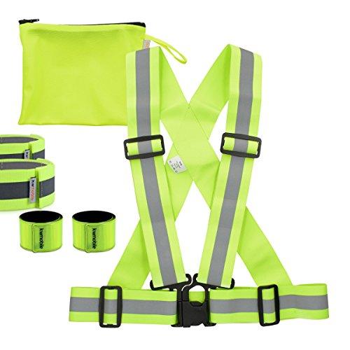 kwmobile 6in1 Set Reflektor Sicherheitsweste S-M - Warnweste für Damen, Herren und Kinder - Weste zum Laufen, joggen oder skaten - in Neon Gelb
