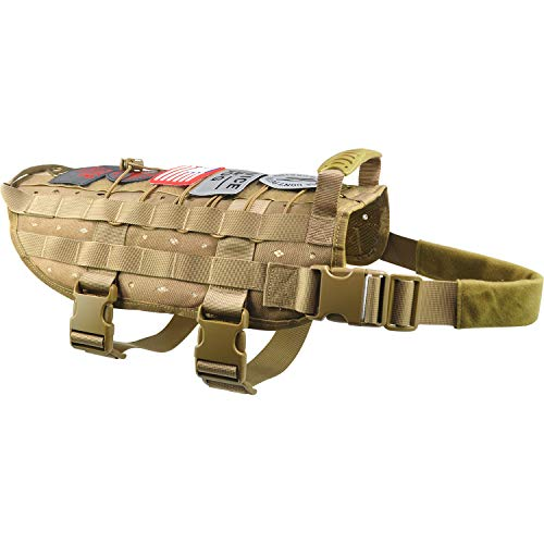 Dog Tactical Service Training Harness Adjustable Military Patrol K9 Dog Vest Comfortable Molle No Pulling Front Clip Leash Attachment with Extender(Medium ,Large Black Khaki)
