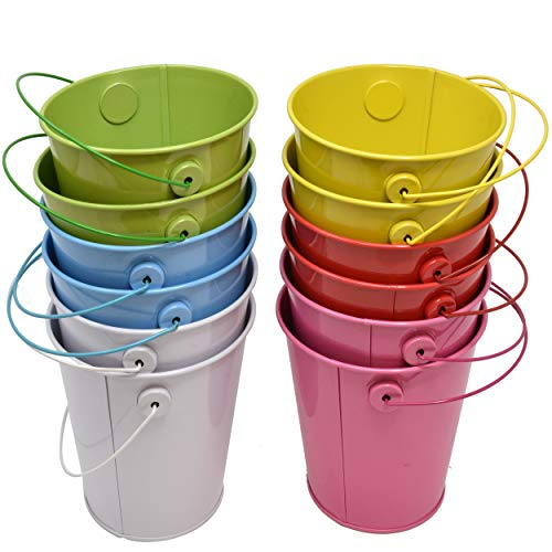 """12 Mini Tin Metal Pail Buckets 4.125"""" in Assorted Colored Easter Small Pails with Handles for Party Favors Candy Centerpieces or Garden Includes 2 of 6 Colors Red Yellow Green Blue White and Pink"""