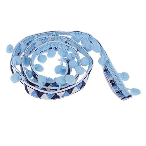 SGerste - Cinta de encaje para coser accesorios de 40 mm con flecos de borla de pompones para tejer y hacer a mano, cojines, decoración para el hogar, fiesta, color azul cielo, como se describe