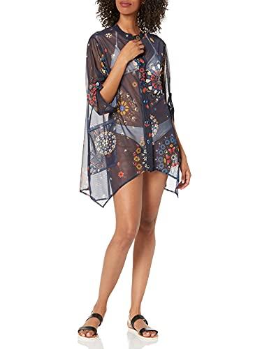 Desigual Top_Sicilia Swimwear Cover Up, Blu, XL Donna