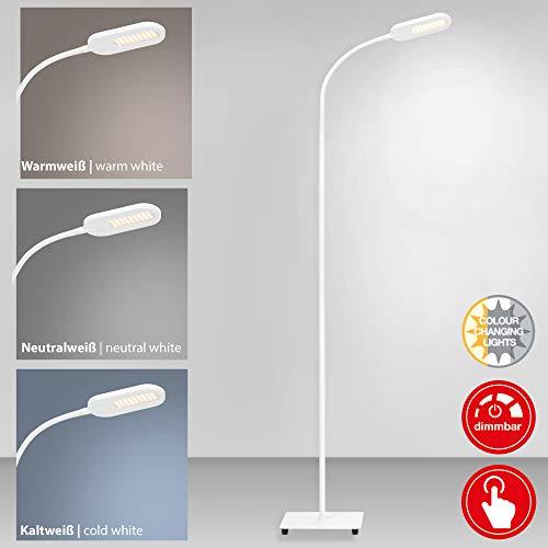 Briloner Leuchten LED Stehleuchte, Stehlampe dimmbar, Farbtemperatursteuerung, 8 Watt, 600 Lumen, Weiß, 8 W