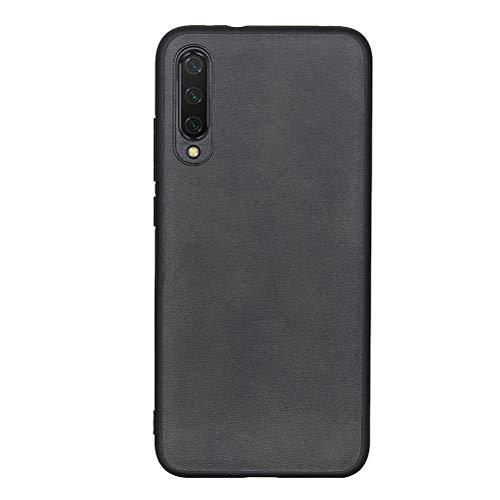 SHUNDA Capa de couro Xiaomi Mi CC9e/Mi A3 com absorção de choque e borda macia antiderrapante - Preta