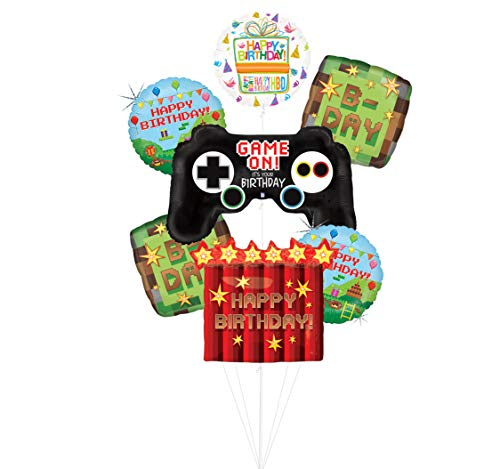 Mayflower Products Video Game Birthday Party Supplies Miner Pixelated TNT Balloon Bouquet...