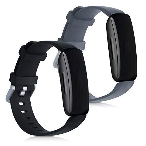 kwmobile 2X Pulsera Compatible con Fitbit Inspire 2 - Brazalete de Silicona Negro/Gris Oscuro sin Fitness Tracker
