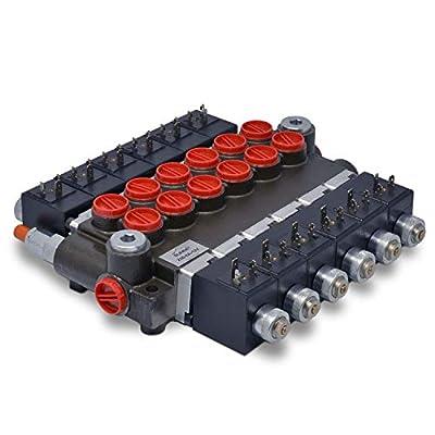 Hydraulic Monoblock Solenoid Directional Control Valve, 6 Spool, 13 GPM, 12V DC by Summit Hydraulics