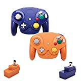 VTone Wireless Gamecube Controller, 2 Pieces 2.4G Wireless Classic Gamepad with Receiver Adapter for Wii Gamecube NGC GC (Orange and Dark Blue)