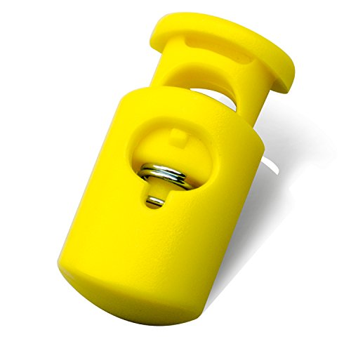 DYZD Multi-Colour Plastic Cord Lock End Spring Stop Toggle Stoppers Heavy Duty Cord Lock Ideal for Lanyard,Luggage,Clothing,Backpack and Various Kinds of Outdoor and Gym Products(20PCS,Yellow)