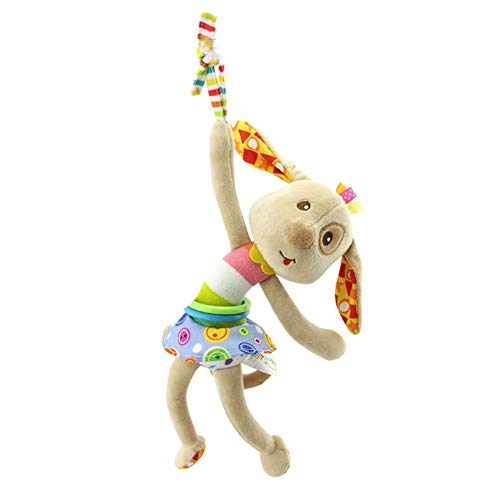 Naughty baby Lit Bébé Mode Cartoon Animal Peluche Suspendus/Chien/Chat/Monkey Frog Tirer Jouets Bell Choc Cadeaux Pour Bébé 0-3 Ans M,C