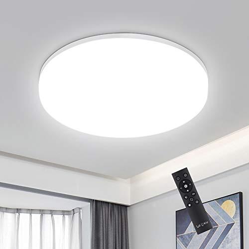 18W LED Deckenleuchte Dimmbar, IP54 Led Deckenlampe dimmbar mit Fernbedienung, Lichtfarbe und Helligkeit einstellbar, LEOEU Schlafzimmerlampe, Wohnzimmerlampe, Kinderzimmerlampe, Ø22cm