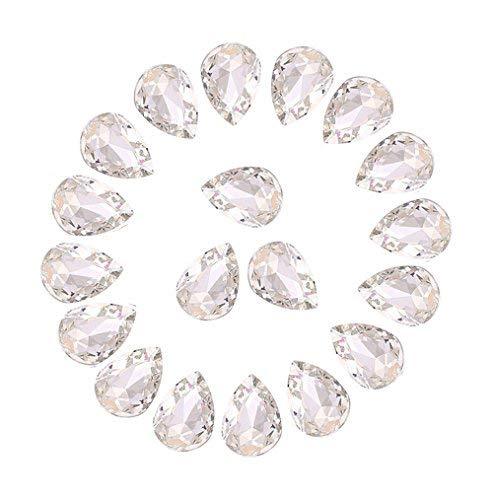 Jyukan DIY Teardrop Crystal AB Resin Rhinestone Pointback Glass Faceted Jewelry Making Craft (50Pcs)