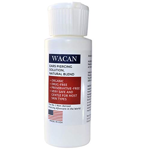 Wacan Fast-healing Organic Ear Saline Solution For Piercings with Clove Oil, Drug-Free Preservative-free Piercing Aftercare with Natural Sea Salts and Vitamins (2 oz, pk of 1)