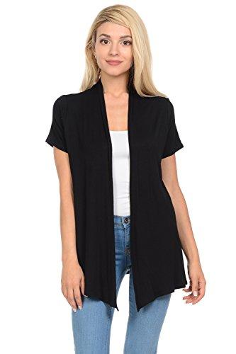 Pastel by Vivienne Women's Short Sleeve Open Front Vest X-Large Black