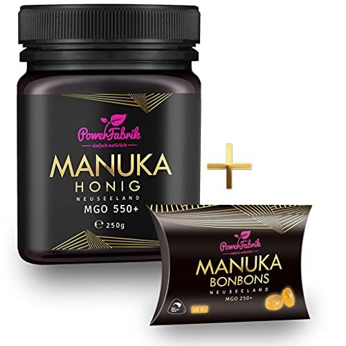 Manuka Honig | MGO 550+ | 250g | Das ORIGINAL aus NEUSEELAND | INKL. Manuka Bonbons | HOCHAKTIV, PUR, ROH & ZERTIFIZIERT | Premium Qualität 100% natürlich | PowerFabrik