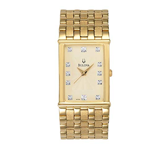 Gold Tone Dress Champagne Dial Diamond Markers