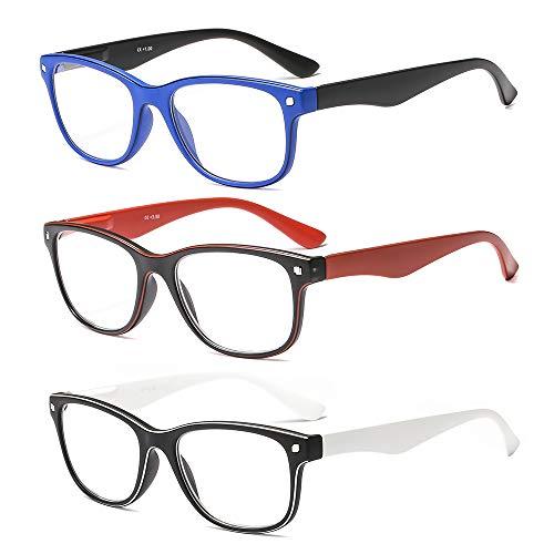 Suertree Lesebrille 3 Pack Computer Brille Herren Damen Lesehilfe für Frauen Männer Fashion Leser 2.0X JH241