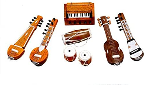 Latest Fashion Unique Beautiful Musical Instruments Decorative Showpieces Handmade Wooden Products 1 Guitar 1 Sitar 1 Sarod 1 Tanpura 1 Dholak 1 Tabla Set 1 Harmonium Perfect Gift for all Occasions By University Trendz