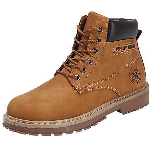Botas de Cuero PU para Hombre SUNNSEAN Zapatos de Invierno Botas Cortas Vintage Retro para Hombre Zapatos Casuales Botas Negras de Talla Grande Botas de Moto (44, Marrón)