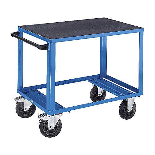 EUROKRAFTpro Premium-Montagewagen | Rollwagen | Werkstattwagen, 1 Ladefläche aus Kunststoff, Ladefläche 1250 x 800 mm, Gestell lichtblau