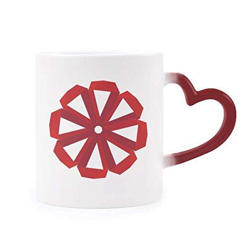 DIYthinker Rot Abstract Weihnachten Blume Origami Morphing Becher-Hitze-Sensitive rotes Herz-Cup Mehrfarbig