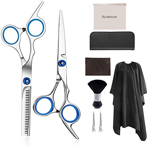 Haarscheren-Set, 9-teiliges Haarschneidensatz mit Haarmantel, leichte Friseurschere mit einseitiger Mikroverzahnung, perfekte professionelle Ausdünnungsschere für Frauen, Männer und Kinder