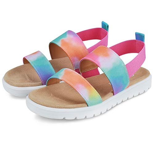 MIXIN Girls Sandals Elastic Ankle Strap Open Toe Platform Sandals for Little Big Girls Summer Shoes Rainbow Size 2