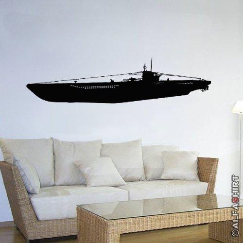 Wandtattoo Deko Aufkleber - U-Boot Typ VII C Grauer Wolf deutsche Marine WK 2-120x34 cm schwarz #10871