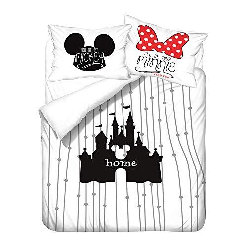 Amacigana Mickey Minnie Mouse Kinderbettbezug, 3 Stück, Jungen und Mädchen, Bettwäsche, superweiche Mikrofaser (Mickey Maus 05,135cm x 200cm)