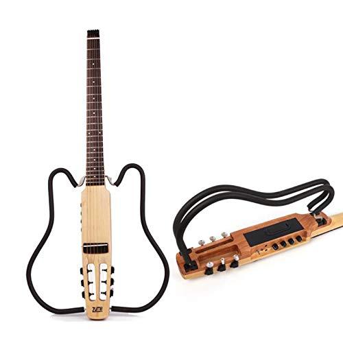 MSHK HSGAV Traveler Guitar Stumm Reisegitarre Mit Deluxe Akustikgitarre Tasche (6-Saiten Set) Für Anfänger Mit Gitarrensaite, Gitarrengurt, Gitarrentasche, Capo Für Gitarre