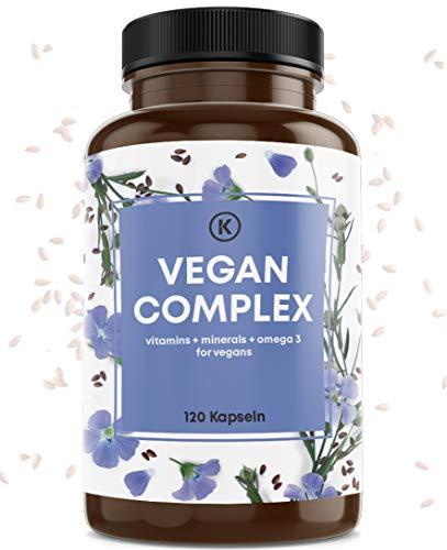Vegan Complex - aus Vitamin B12 K2 D3 B2 Eisen Zink Selen und Omega 3 vegan - 120 Kapseln